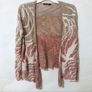 Nic+Zoe Open Knit Cardigan Tan Rose Colored